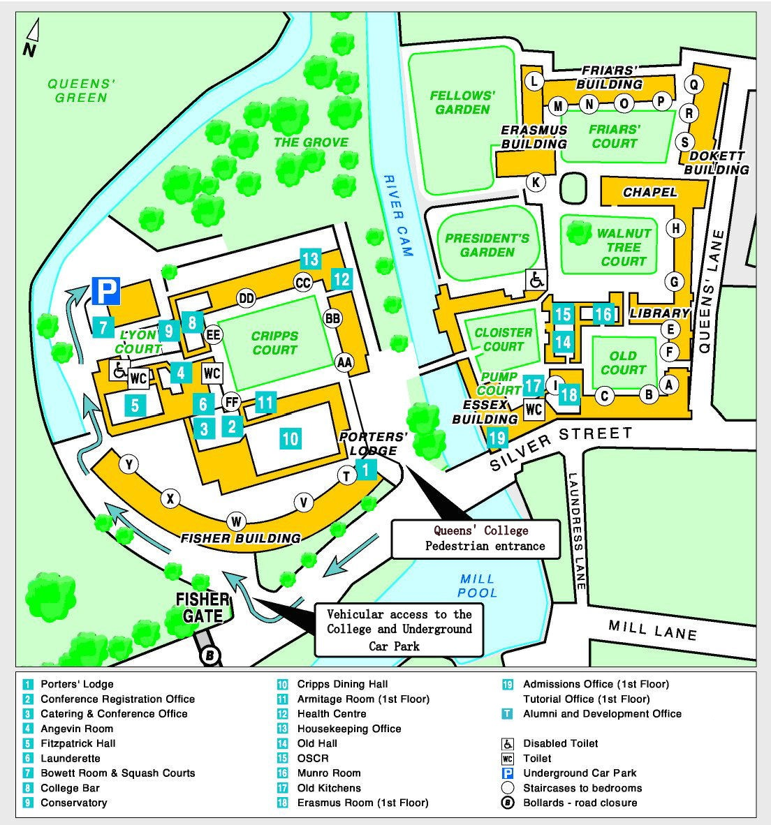 Site map | Queens' College Queens College Map on