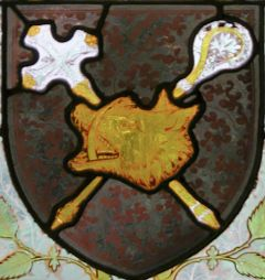 Photo of Boar's Head badge in stained glass 1854