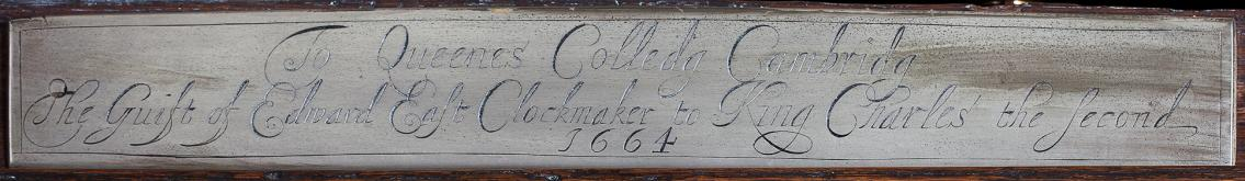 Edward East clock 1664 label