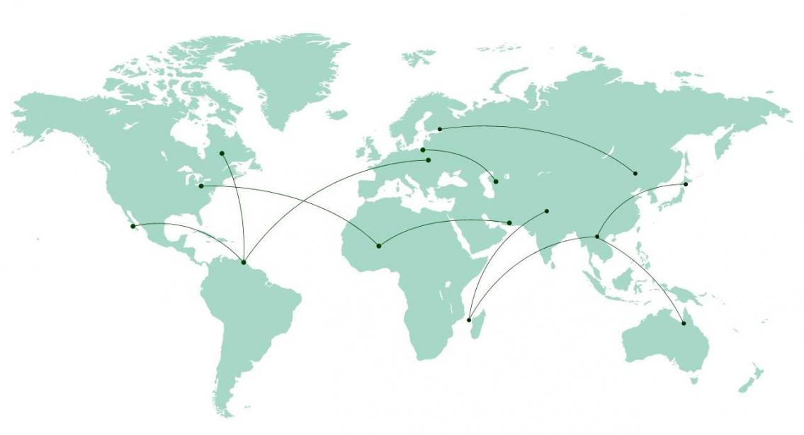 A map of previous Queens' Global events.