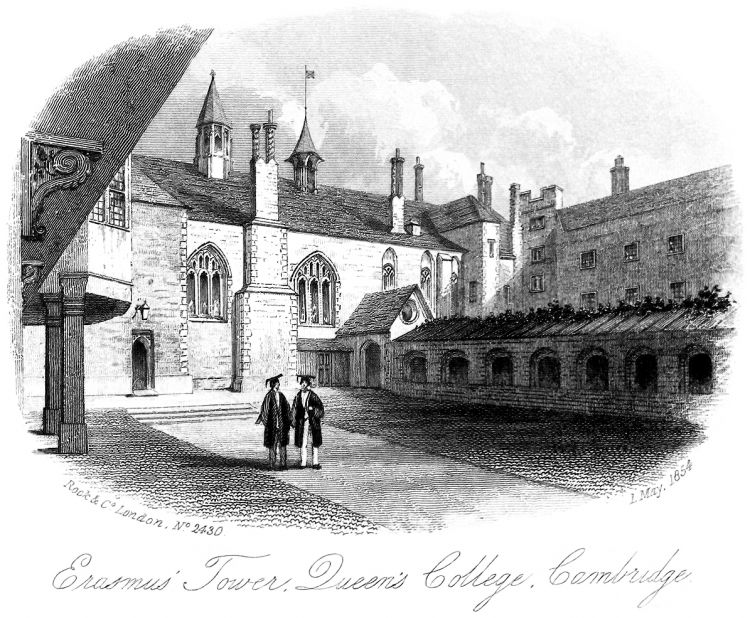 Erasmus Tower, Queens' College, Cambridge, 1854