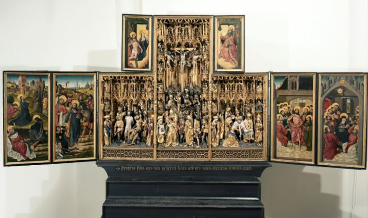 Photo of altarpiece at St Dymphna, Geel, Belgium
