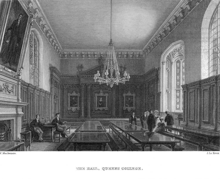 Print of The Hall, Queens College, by John Le Keux 1842