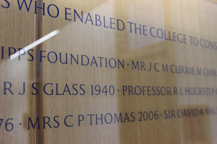 Donor plaque for the Cripps Court top floor.