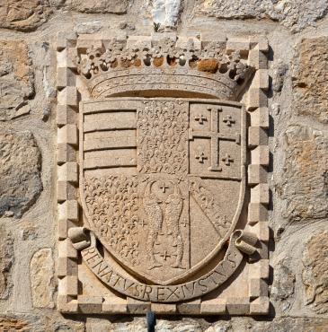 Photo of arms of René d'Anjou on a house on Šipan island, Croatia