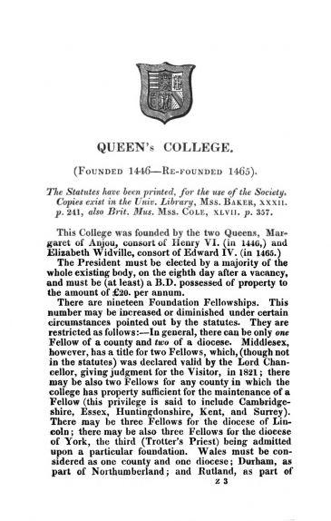 """""""Cambridge University Calendar"""" entry for Queen's College 1830"""