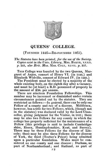 """Cambridge University Calendar"" entry for Queens' College 1831"