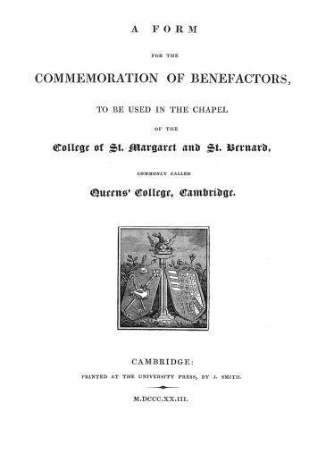 """Commemoration of Benefactors"" title page 1823"