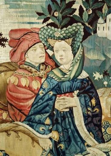 Falconry tapestry detail