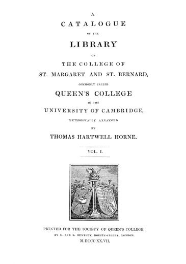 Library Catalogue title page 1827