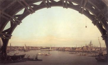 London seen through an Arch of Westminster Bridge, Canaletto, 1746-7