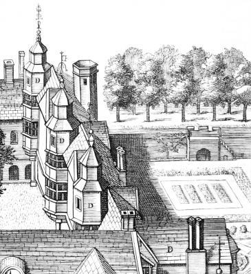 Loggan's view 1685: detail of Long Gallery