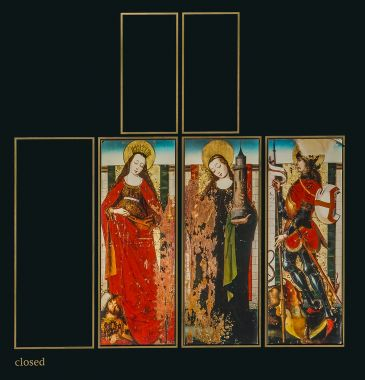Possible design of altarpiece from which Queens' panels survive - closed