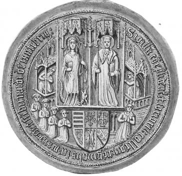 Queens' College seal 1448 drawing