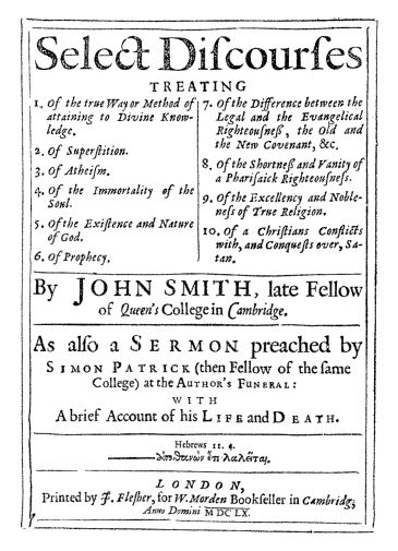 """""""Select Discourses"""" title page 1660"""