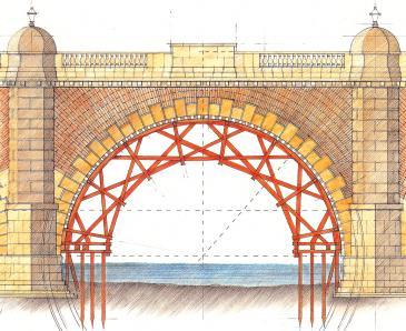 Wooden centre for stonework of Westminster Bridge 1741, drawn by Simon Miller
