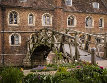 A photograph of the Mathematical Bridge, Queens' College.